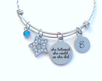 She believed she could so she did Graduation Charm Bracelet, Gift for Graduate Jewelry, Crystal Rhinestone Star twisted ornate, non tarnish