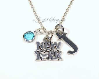 New York Necklace Gift, Silver New Yorker Jewelry, Pewter NYC NY Charm, The Big Apple Pendant Birthstone Initial women moving away present