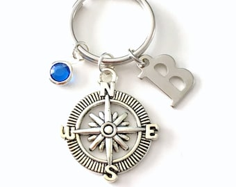 Personalized Compass Keychain,  Gift for Hiker Present, Going Away Keyring, Climbers Key Chain, Letter birthstone initial her him men women