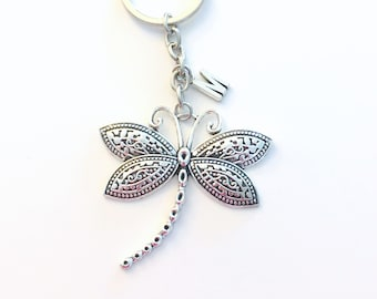 Large Dragonfly Key Chain, Dragon Fly Keychain, Dragonflies Silver Charm, Custom Personalized Gift for Teen Girl her women insect bug animal