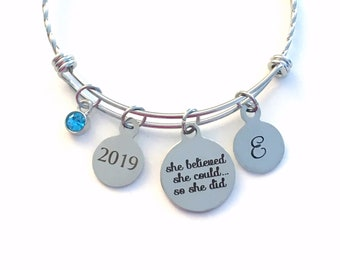 She believed she could so she did Bracelet, 2019 Stainless Steel Charm Bangle, Grad Script font Jewelry Gift for retirement Graduation