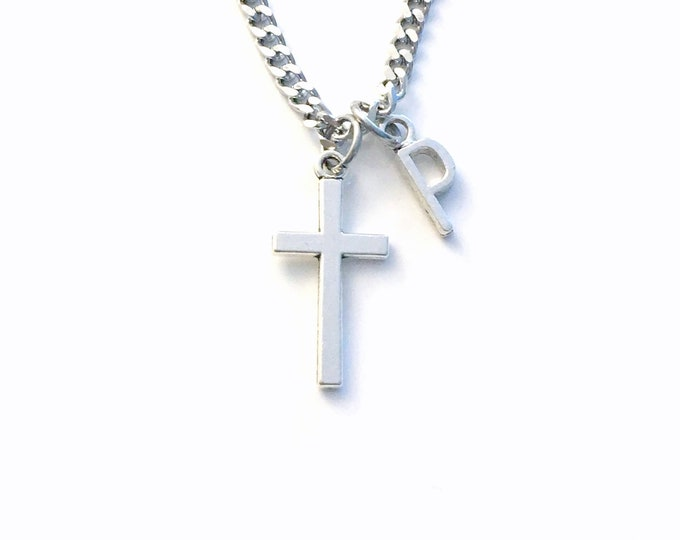 Featured listing image: Cross Necklace for Men, 3mm Stainless Steel Curb Chain won't' tarnish, Crucifix Jewelry, Religious Gift for Man confirmation, Father's Day