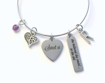 Sweet 16 Charm Bracelet, Gift for Daughter, She believed she could so she did Jewelry, Granddaughter Niece, Birthday Present can sixteen her