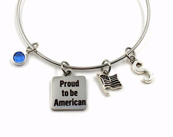 USA New Citizen Gift / Proud to be American Bracelet / Gift for Citizenship Jewelry / New US Present / United States Flag Charm Bangle
