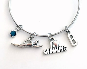 I love Swimming Bracelet, Swimmer Jewelry, Stainless Steel Gift for Daughter Niece, Swim Coach Present Charm, Synchronized Synchro her girl