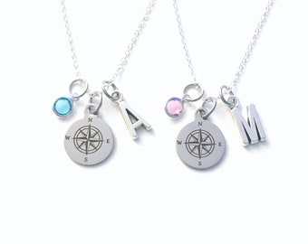Matching Mother Daughter Compass Necklace Set of 2 3 4 5 6 or 7, Best Friends Jewelry present, Friendship Going away Gifts adult children