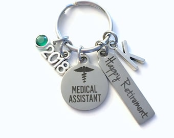 Medical Assistant Retirement Present, 2018 MA Keychain, Gift for Women or Men Retire, Key Chain Keyring him her Personalized Custom 2017