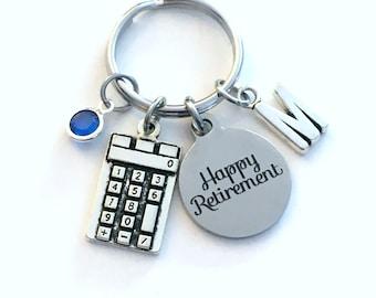 Math Teacher Retirement Gift Keychain, Present for Bookkeeper Key chain, Accountant Keyring Coworker Initial women professor calculator
