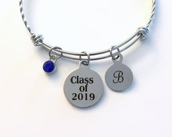 Class of 2019 Graduation Bracelet, Twisted Stainless Steel Charm Bangle, Student Grad Silver Jewelry, Gift for High School Teen girl 2020