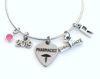 Gift for Pharmacist Graduation Bracelet Gift, 2019 Pharmacy Student Grad Bangle, Rx Jewelry Graduate Student Charm Scroll Initial women