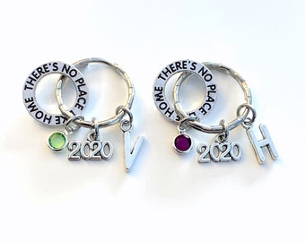 Wizard of Oz Keychain, Set of 1, 2 3 4 5 6 Musical Theatre Keyring, Best Friends Key Chain Birthstone Initial her There's no place like home