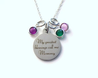 Mom Necklace with multiple birthstones Gift, My greatest blessings call me Mommy Jewelry, Mother's Day Present 2 3 4 5 6 7 8, from children