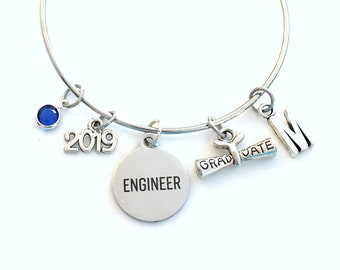 Engineer Graduation Bracelet, Gift for Engineering Student Jewelry 2019 Charm Bangle Silver initial Birthstone Personalized Custom Civil her