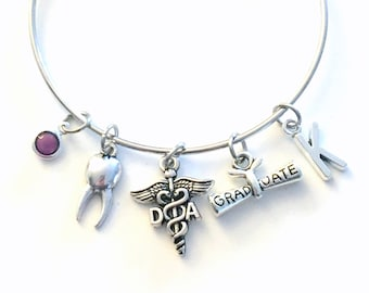 Graduation Gift for DA Bracelet, Dental Assistant Jewelry, Dentist Hygienist Charm Bangle, DH Tooth Silver Medical Caduceus birthstone her
