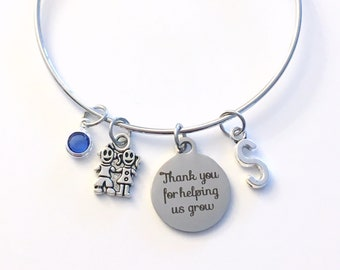 Daycare Provider Gifts Bracelet, Thank you for helping us grow Jewelry, Nanny Present for Au Pair initial Day Care her from children kids