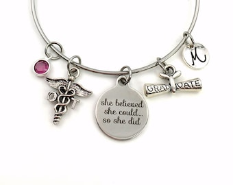 Graduation Gift for OT Bracelet, 2021 Occupational Therapist Jewelry, Student Grad Silver Bangle Therapy She believed she could so she did