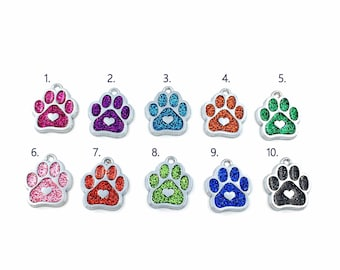 Dog Paw Charm Pendant / Add on purchase for Bangle, Necklace, or Keychain / Glitter Enamel Pendant / Pink Purple Blue Orange Red or Black