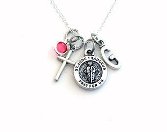 St. Jude Necklace, Saint Judas Thaddeus Jewelry, For Get Well Gift, Charm Cross Pendant, Religious symbol Birthstone Initial letter girl her