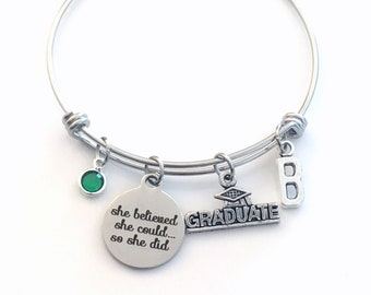 Graduation Charm Bracelet, Stainless Steel Gift for Graduate Jewelry, Bangle Grad Present She believed she could so she did Bracelet can