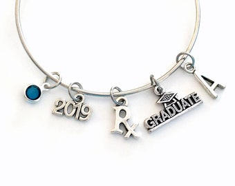 Pharmacy Technician Graduation Gift, 2019 Pharmacist Tech Charm Bracelet, Student Grad Bangle initial birthstone Jewelry Graduate Rx