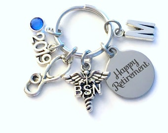 Retirement Gift for BSN Keychain, 2019 Nurse Caduceus Medical Key chain, Keyring Retire Coworker Initial letter RN Nursing registered her
