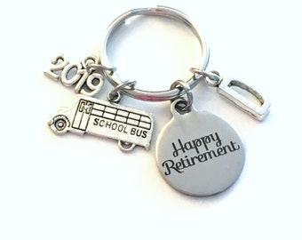 Retirement Gift for School Bus Driver Keychain, 2019 Crossing Guard Teacher Him Key chain Keyring Retire Coworker Initial letter men women