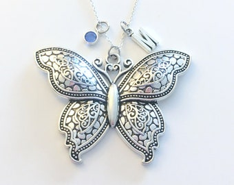 Butterfly Necklace / Large Statement Jewelry / Silver Charm for Women / Big Pendant / 925 Sterling Chain Long or Short / woman mom daughter