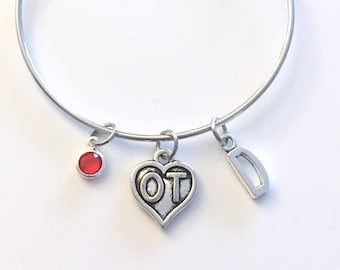 OT Bracelet / Occupational Therapist Jewelry / Therapy Charm Bangle / Silver Medical heart / Gift for women / Retirement Graduation Present