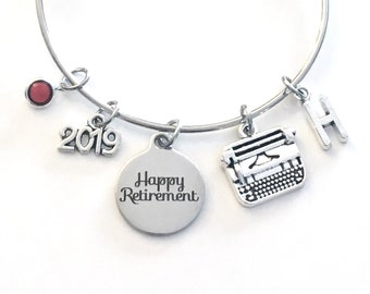 Retirement Gift for Secretary, Writer Publisher Office Women Author Charm Bracelet Jewelry Silver Bangle Coworker initial birthstone Present