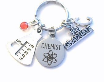 Chemistry Graduation Gift for Science Student Key Chain, Chemist Student Keychain, Beaker Lab Equipment for Grad Keyring Graduated Grad