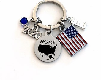 2020 Gift for New USA Citizen Keychain / Red, White and Blue US Flag Key Chain / Patriotic Home Map / American Citizenship Immigrant Present