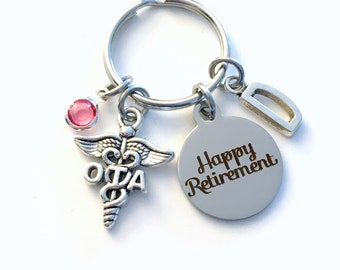 Retirement Gift for OTA Keychain, Occupational therapy assistant Keyring, Key chain Therapist assist Initial letter for her women retire him