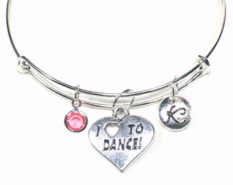 I Love to Dance Charm Bracelet Custom Dancer's Jewelry Bangle Gift for Daughter Niece Hip Hop Ballet Tap Jazz Contemporary Silver Adjustable
