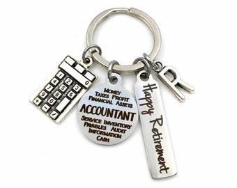 2021 Retirement Gift for Accountant Key Chain, CPA Accounting Keychain Present, Chartered Professional Accountant, for him or her Calculator