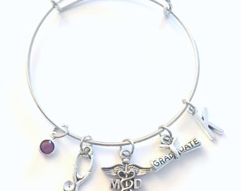 Graduation Gift for MD Bracelet, Medical Doctor Jewelry, Ph D Physician Charm Bangle, PHD Silver Medical Caduceus Stethoscope birthstone her