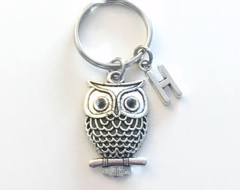 Owl Keyring, Owl Key Chain, Silver Bird Charm Jewelry, Teacher Keychain, Personalized Gifts for professor birthday present Christmas her him