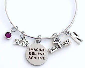 Graduation Gift for Her Bracelet, Imagine Believe Achieve Jewelry, High School Teen Girl College Grad 2018 Silver Teenager Teenage scroll