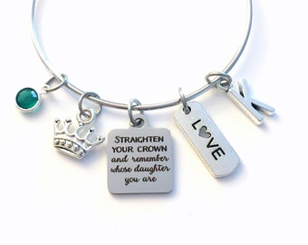 Gift for Daughter from Mother Father / 60mm Charm Bracelet / Straighten your crown and remember whose daughter you are Jewelry / From Parent