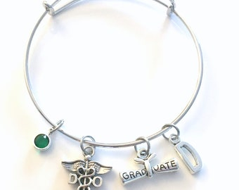 Graduation Gift for DO Bracelet, Doctor of Osteopathic medicine Jewelry, Osteopath Charm, Silver Medical Caduceus women birthstone initial