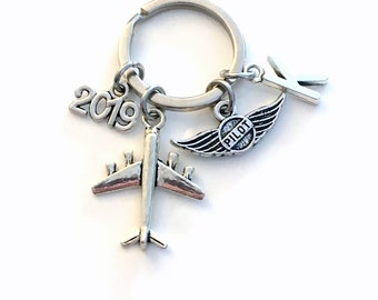 Gift for New Pilot License, 2019 Airplane Keychain, Air Plane Keyring, Present Flight Instructor Key Chain Initial Letter amateur Wings