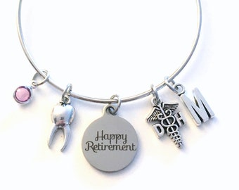 Retirement Gift for DH Bracelet, Dental Hygienist Jewelry,  Dentist Assistant Charm Bangle, DA Tooth Silver Medical Caduceus birthstone her