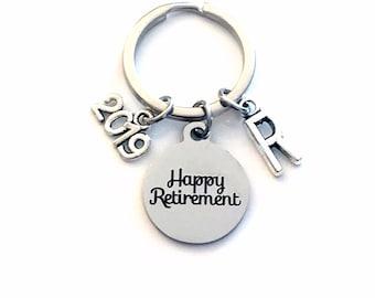 2019 Retirement Keychain for Men, Him or Her Happy Retiring Present Coworker Key chain Gift for Boss Keyring Initial letter custom Dad