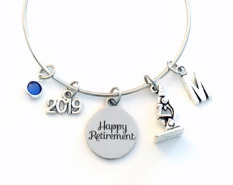 Retirement Gift for Laboratory Lab Tech, Microscope Researcher Women Charm Bracelet Jewelry Silver Bangle Coworker letter birthstone Present