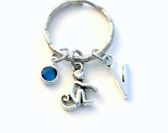 Monkey Keychain, Personalized Monkey Keyring, Silver Monkey Charm Key Chain, Animal Gifts, Year of the Monkey, Chinese Symbol for 2016