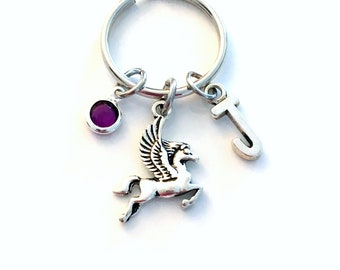 Pegasus Keychain, Gift for Teenage Girl Key Chain, Girlfriend Keyring Present, Hercules Daughter Greek Mythology God, Flying Horse Animal