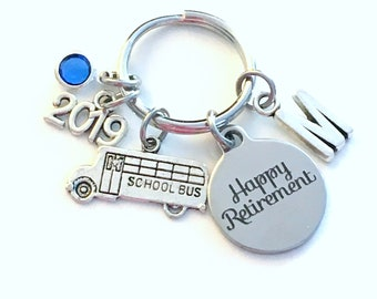 Bus Driver Retirement Gift Keychain, 2019 for Crossing Guard School Teacher Him Key chain Keyring Coworker Initial letter birthstone women
