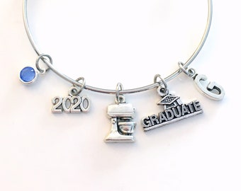 Pastry Chef Graduation Gift Charm Bracelet, 2021 Student Grad Bangle custom initial birthstone letter Jewelry Graduate Pastry Line Cook 2019