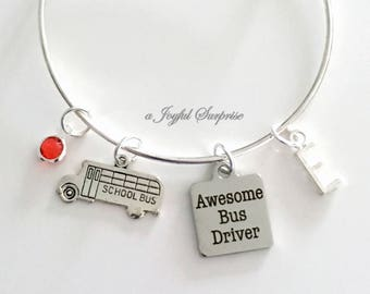 Bus Driver Bracelet, Gift for Awesome Bus Driver Thank you Present Jewelry Silver Charm Bangle initial birthstone Personalized Custom school