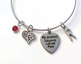 My greatest blessings call me Mimi Bracelet, Gift for Grandmother Jewelry Charm Bangle Silver initial Birthstone Birthday Christmas heart