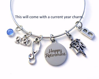 2021 Retirement Gift for LPN Nurse /  Licensed Practical Nursing Charm Bracelet Jewelry / Silver Stethoscope Bangle / Coworker Present